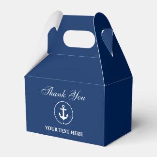 Caixinha De Lembrancinhas Azuis marinhos náuticos da âncora seu obrigado do