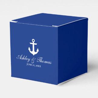 Caixinha De Lembrancinhas Azul náutico da âncora do casamento personalizado
