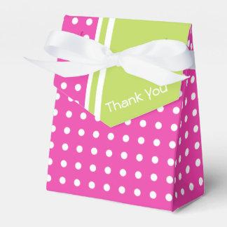 Caixinha De Lembrancinhas Bolinhas cor-de-rosa e verdes obrigado