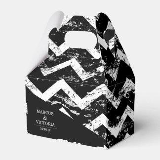 Caixinha De Lembrancinhas Casamento afligido Chevron preto e branco