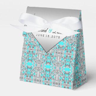 Caixinha De Lembrancinhas Casamento azul e de prata da cerceta