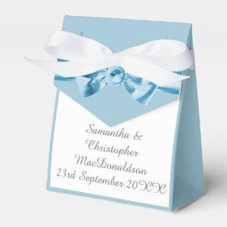 Caixinha De Lembrancinhas Casamento azul pastel liso do arco da fita do
