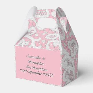 Caixinha De Lembrancinhas Casamento filigrana do rosa e o branco do laço