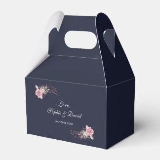 Caixinha De Lembrancinhas Casamento floral da aguarela do marinho marrom de