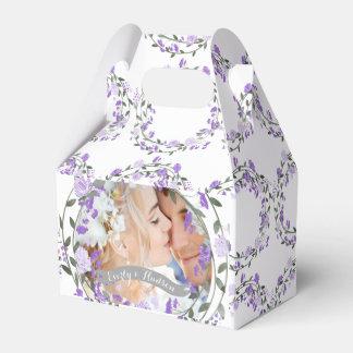 Caixinha De Lembrancinhas Casamento floral da grinalda da peônia roxa