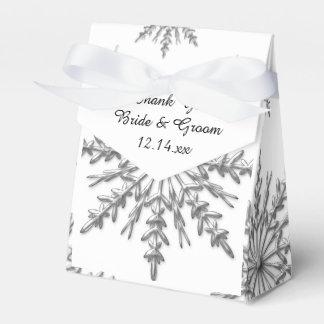 Caixinha De Lembrancinhas Casamento no inverno de prata dos flocos de neve