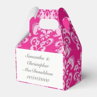 Caixinha De Lembrancinhas Casamento tema damasco cor-de-rosa brilhante