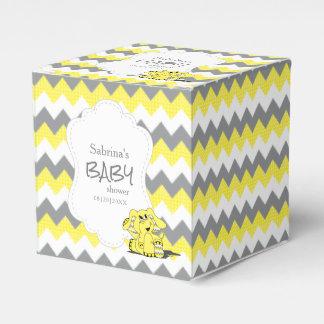 Caixinha De Lembrancinhas Chá de fraldas amarelo e cinzento do elefante de