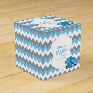 Caixinha De Lembrancinhas Chá de fraldas azul e cinzento do elefante de