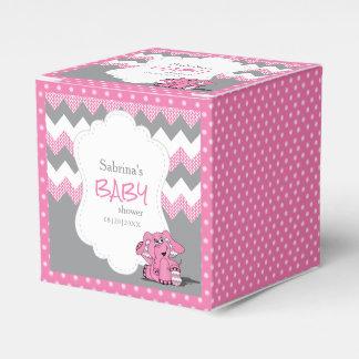 Caixinha De Lembrancinhas Chá de fraldas cor-de-rosa e cinzento do elefante