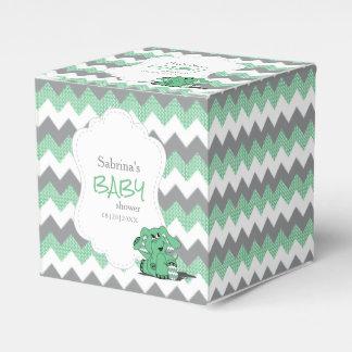 Caixinha De Lembrancinhas Chá de fraldas verde e cinzento do elefante de