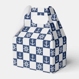 Caixinha De Lembrancinhas Checkered branco azul náutico