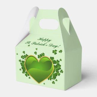 Caixinha De Lembrancinhas Coração verde Ouro-Aparado com trevos