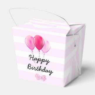 Caixinha De Lembrancinhas Cupcake da cereja do rosa do feliz aniversario com