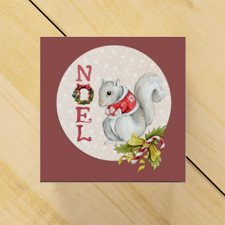 Caixinha De Lembrancinhas Esquilo festivo de Noel