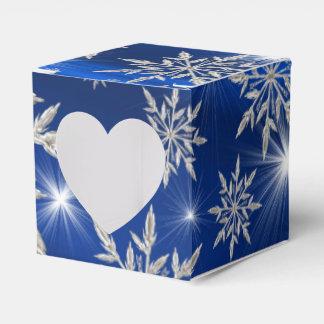 Caixinha De Lembrancinhas Estrelas azuis do Natal com o cristal de gelo