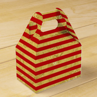 Caixinha De Lembrancinhas Folha de ouro elegante e teste padrão vermelho da