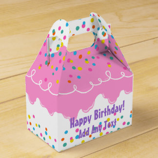 Caixinha De Lembrancinhas Glacé cor-de-rosa do bolo de aniversário