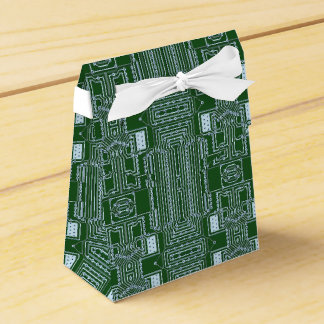 Caixinha De Lembrancinhas Linhas brancas verdes do conselho de circuito do