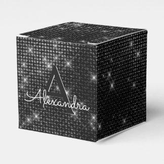 Caixinha De Lembrancinhas Monograma preto e branco do Shimmer - adicione seu