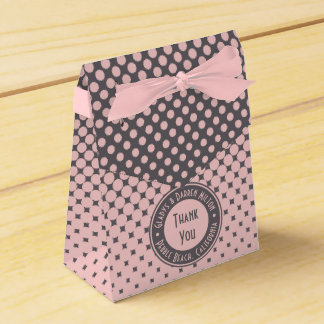 Caixinha De Lembrancinhas Na moda cinzento cor-de-rosa milenar do monograma