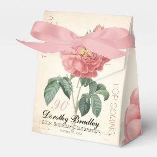 Caixinha De Lembrancinhas O aniversário cor-de-rosa de florescência do 90
