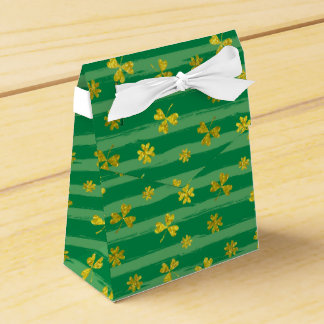Caixinha De Lembrancinhas O verde dourado do trevo de St Patrick listra o