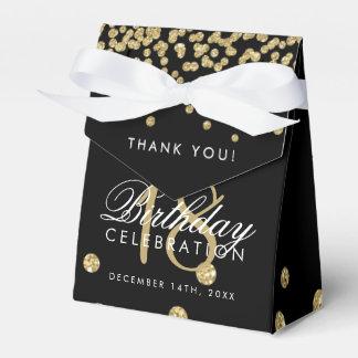 Caixinha De Lembrancinhas Obrigado 18os confetes Blac do brilho do ouro do