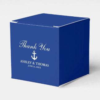 Caixinha De Lembrancinhas Obrigado azul da âncora náutica do casamento você