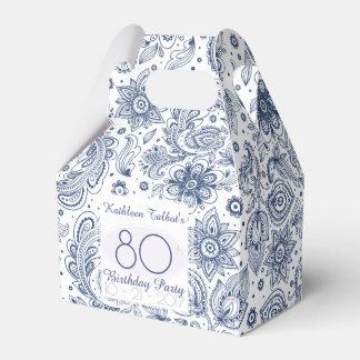 Caixinha De Lembrancinhas Obrigado azul do aniversário do 80 do vintage você