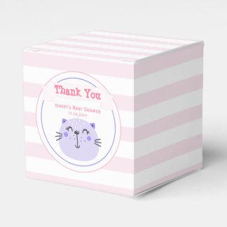 Caixinha De Lembrancinhas Obrigado listrado do chá de fraldas do gato rosa