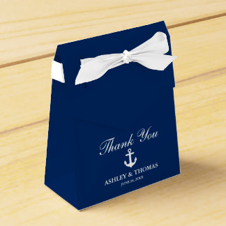 Caixinha De Lembrancinhas Obrigado que náutico dos azuis marinhos da âncora