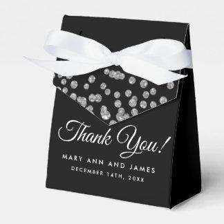 Caixinha De Lembrancinhas Obrigado Wedding você preto de prata dos confetes
