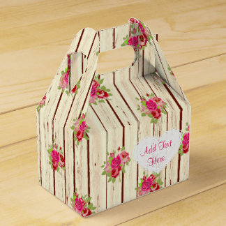 Caixinha De Lembrancinhas Os rosas cor-de-rosa de madeira rústicos listraram