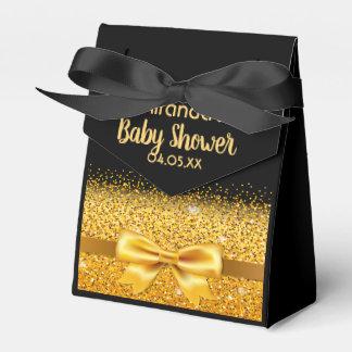 Caixinha De Lembrancinhas Preto do chá de fraldas e arco elegantes do ouro