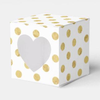 Caixinha De Lembrancinhas Teste padrão de bolinhas elegante da folha de ouro