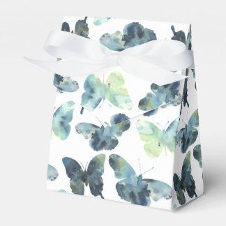 Caixinha De Lembrancinhas Teste padrão de borboletas azul verde artístico da