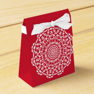 Caixinha De Lembrancinhas Teste padrão elegante branco vermelho do laço