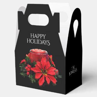 Caixinha De Lembrancinhas Vela, azevinho e poinsétia vermelhos festivos do