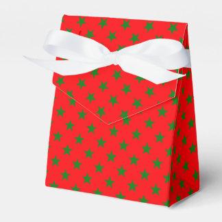 Caixinha Estrelas verdes do Natal no vermelho festivo