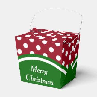 Caixinha Feliz Natal vermelho e bolinhas verdes
