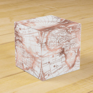 Caixinha Mapa do mundo cor-de-rosa da antiguidade do brilho