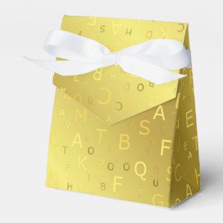 Caixinha O chique brilhante dourado das letras de teste