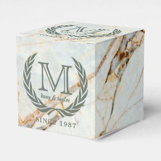 Caixinha Obrigado mármore bonito do monograma da folha do