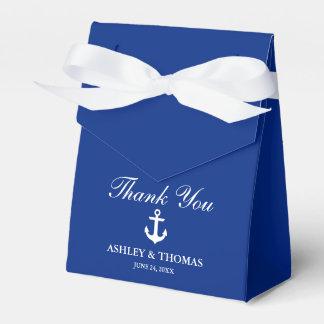 Caixinha Obrigado que azul da âncora náutica do casamento