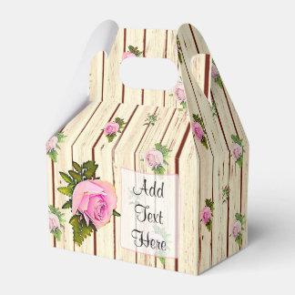 Caixinha Os rosas cor-de-rosa de madeira rústicos listraram