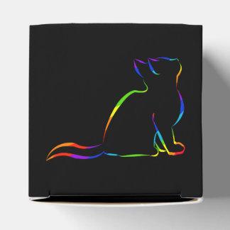 Caixinha Silhueta do gato do arco-íris/gato cor-de-rosa,