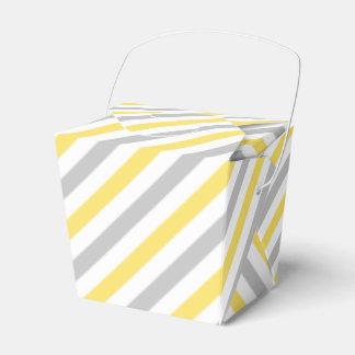 Caixinha Teste padrão diagonal cinzento e amarelo das