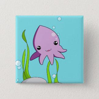 Calamar de Kawaii Bóton Quadrado 5.08cm