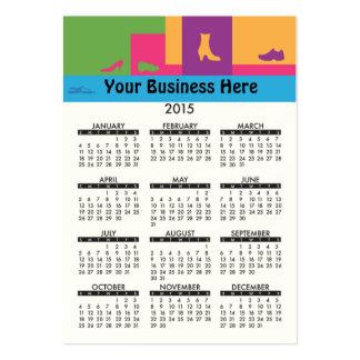 Calçados 2015 do varejo do calendário do cartão de cartão de visita grande